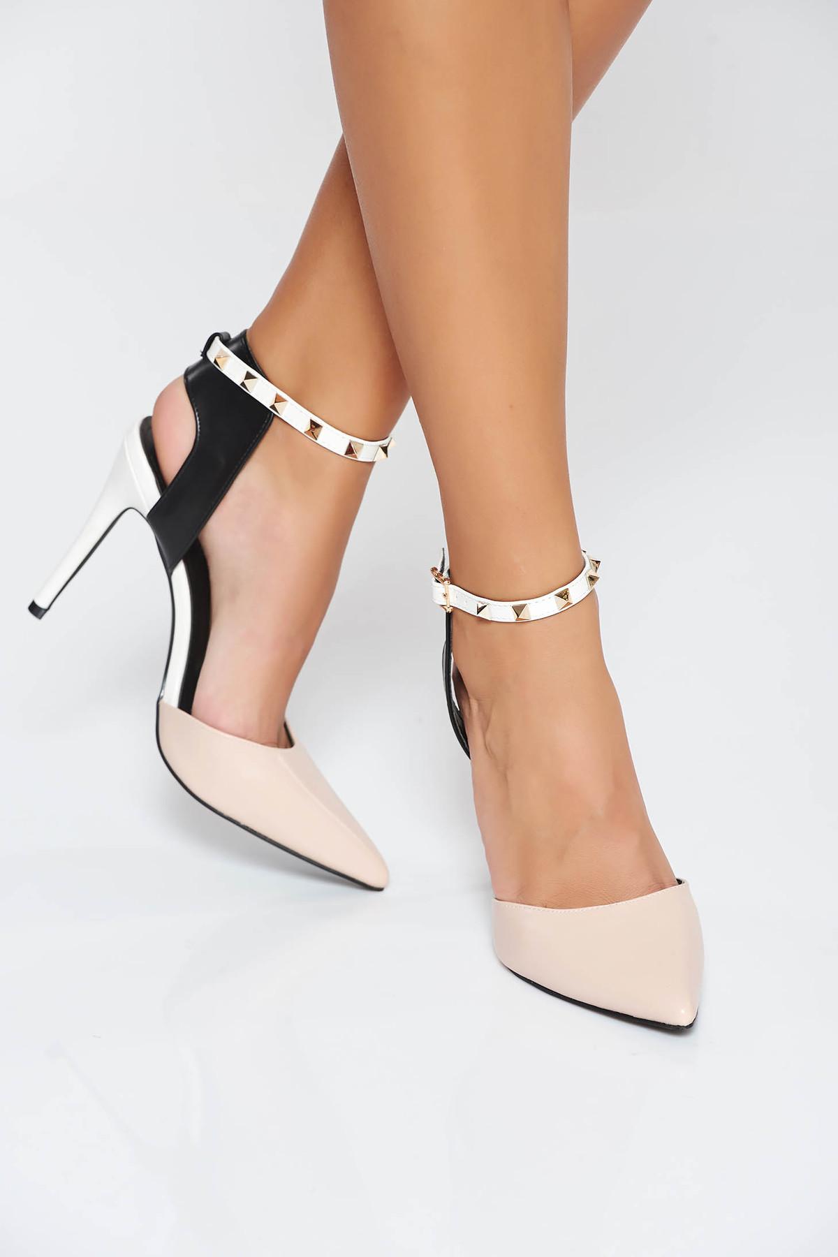 Pantofi crem eleganti cu toc inalt din piele ecologica cu aplicatii cu tinte