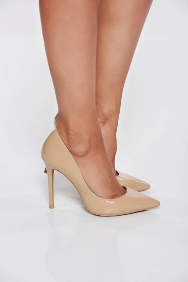 Pantofi stiletto nude elegant cu toc inalt din piele ecologica cu varful usor ascutit