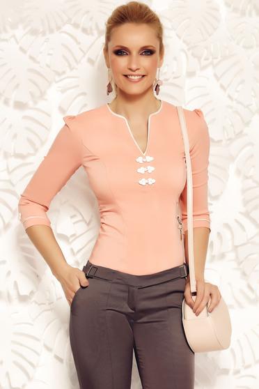 Camasa dama Fofy rosa office din bumbac elastic cu insertii de broderie