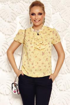 Bluza dama Fofy galbena eleganta cu croi larg din material vaporos si transparent cu elastic in talie