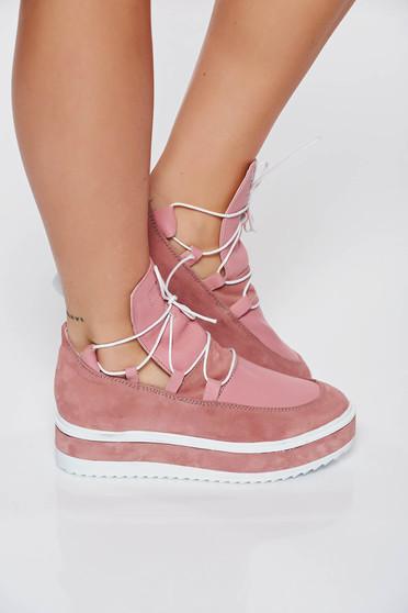 Pantofi sport rosa casual din piele naturala cu talpa joasa accesorizat cu snur