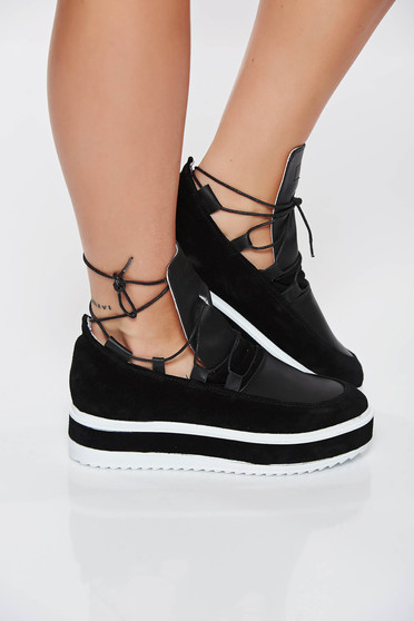Pantofi sport negru casual din piele naturala cu talpa joasa accesorizat cu snur