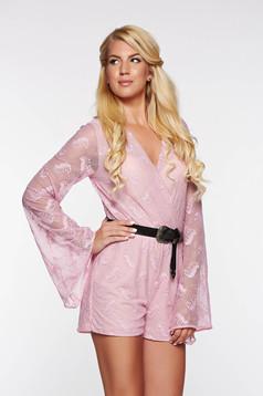 Salopeta SunShine rosa casual din material elastic si fin captusita pe interior cu elastic in talie