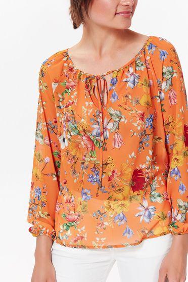 Bluza dama Top Secret portocalie casual cu croi larg din material vaporos si transparent accesorizata cu snur