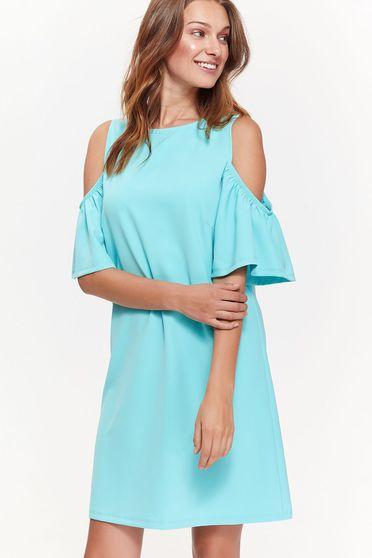 Rochie Top Secret albastra casual cu croi larg din material moale cu umeri decupati