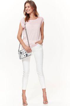Tricou Top Secret roz casual cu croi larg din material subtire fin la atingere