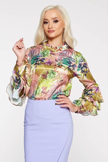 Bluza dama PrettyGirl verde eleganta cu croi larg din material satinat cu imprimeuri florale