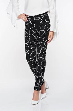 Pantaloni PrettyGirl negri office conici cu talie medie cu imprimeu geometric