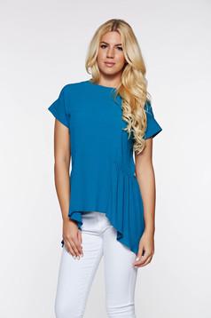 Bluza dama PrettyGirl turcoaz eleganta asimetrica din material vaporos cu croi larg