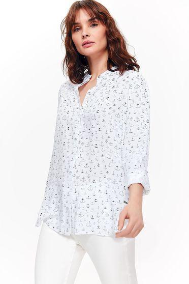 Camasa dama Top Secret alba casual cu croi larg din material neelastic cu imprimeuri grafice