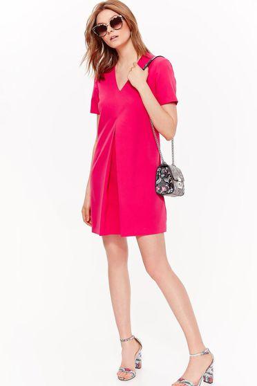 Rochie Top Secret roz eleganta cu croi in a din material usor elastic cu decolteu in v