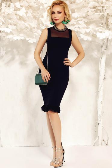 Rochie Fofy neagra eleganta tip creion din material usor elastic cu volanase la baza rochiei