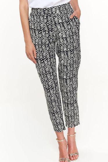 Pantaloni Top Secret negri casual conici din material vaporos cu talie inalta