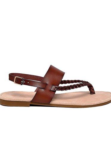 Sandale Top Secret maro casual din piele ecologica accesorizata cu o catarama metalica