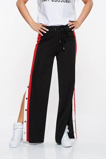 Pantaloni Top Secret negri casual evazati cu croi larg din material usor elastic
