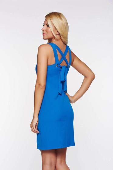 Rochie Top Secret albastra casual cu croi in A din stofa usor elastica captusita pe interior