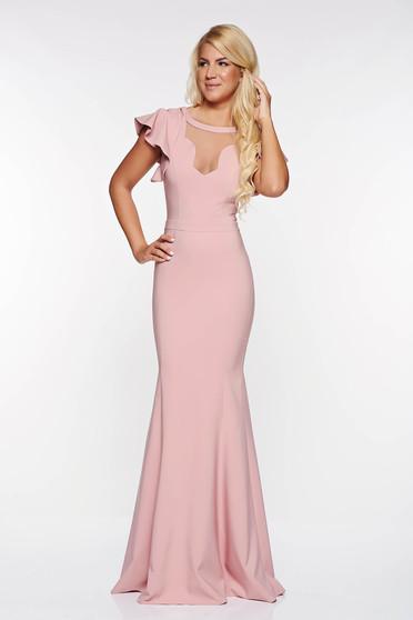 Rochie LaDonna rosa de ocazie tip sirena din material usor elastic captusita pe interior cu decolteu in v