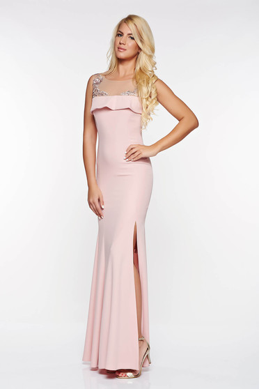 Rochie LaDonna rosa de ocazie tip sirena din material usor elastic captusita pe interior cu insertii de broderie