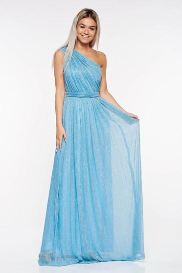 Rochie LaDonna albastra-deschis de ocazie plisata din material transparent cu fir lame captusita pe interior