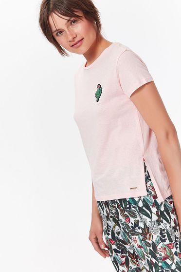Tricou Top Secret rosa casual scurt cu croi larg din bumbac
