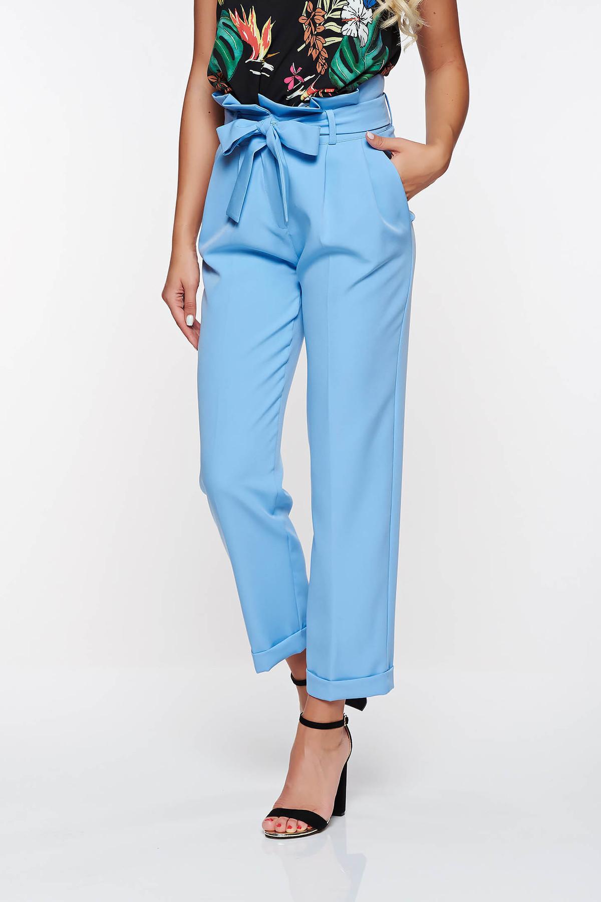 Pantaloni PrettyGirl albastri deschis office cu talie inalta din stofa usor elastica cu buzunare