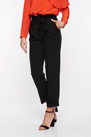 Pantaloni PrettyGirl negri office cu talie inalta din stofa usor elastica cu buzunare