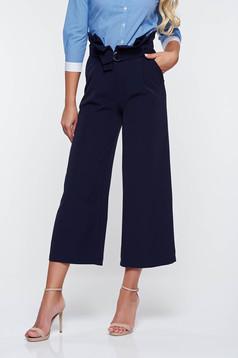 Pantaloni PrettyGirl albastri-inchis office cu talie inalta din stofa usor elastica cu buzunare