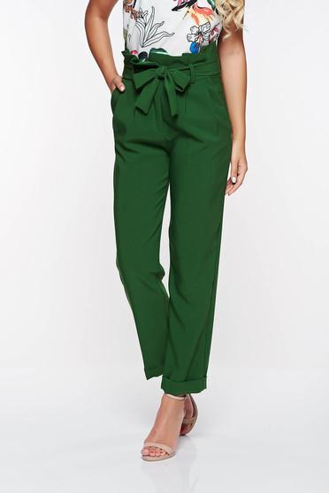 Pantaloni PrettyGirl verzi office cu talie inalta din stofa usor elastica cu buzunare