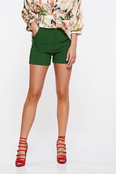Pantalon scurt PrettyGirl verde casual cu talie medie din stofa subtire usor elastica cu buzunare
