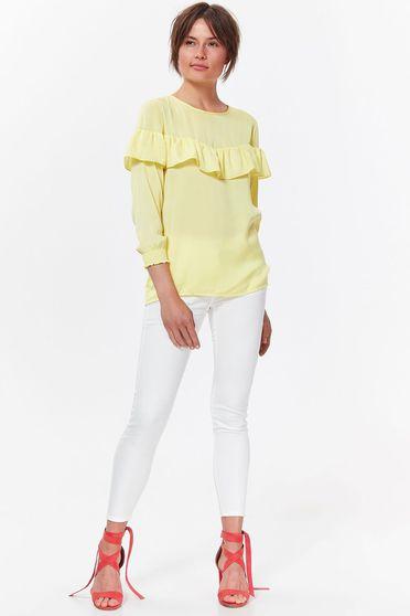 Bluza dama Top Secret galbena eleganta cu croi larg din material vaporos si transparent cu volanase