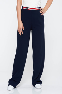 Pantaloni StarShinerS albastri-inchis casual evazati cu talie medie din material elastic cu buzunare