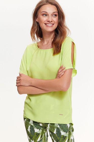 Bluza dama Top Secret verde-deschis eleganta cu croi larg din material neelastic cu maneci decupate