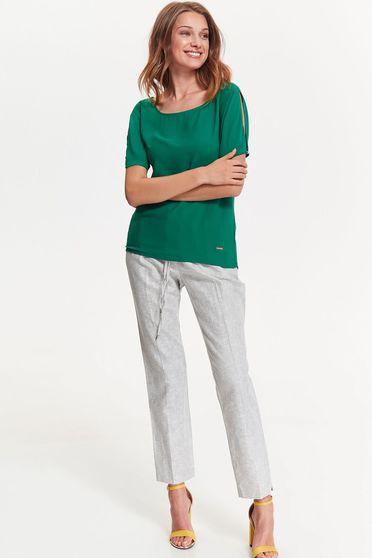 Bluza dama Top Secret verde eleganta cu croi larg din material neelastic cu maneci decupate