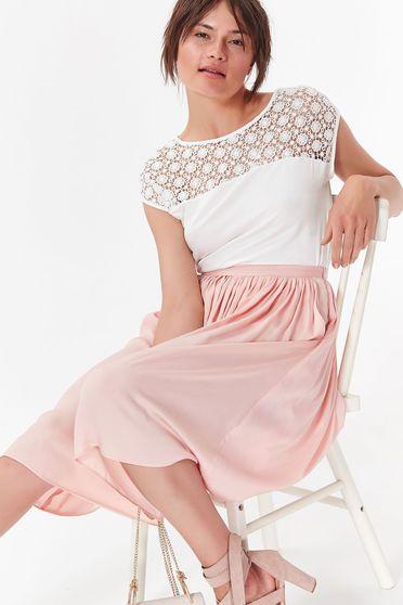 Bluza dama Top Secret alba eleganta cu croi larg material subtire si dantela