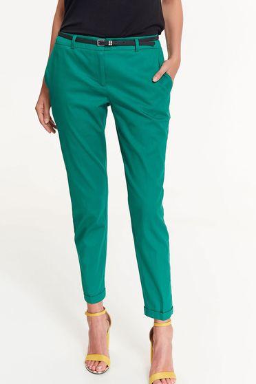 Pantaloni Top Secret verzi office conici cu talie medie din bumbac cu buzunare