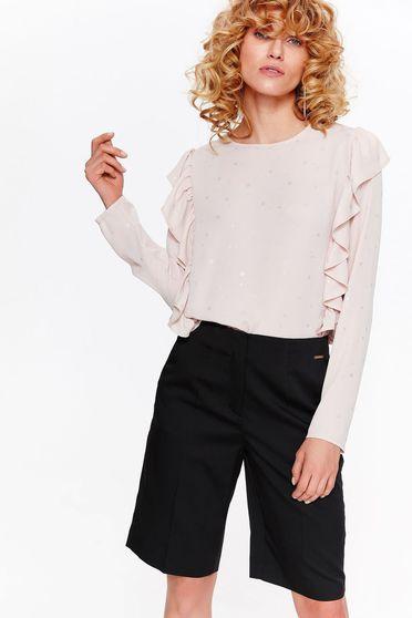 Bluza dama Top Secret rosa eleganta cu croi larg din material neelastic cu volanase si aplicatii stralucitoare