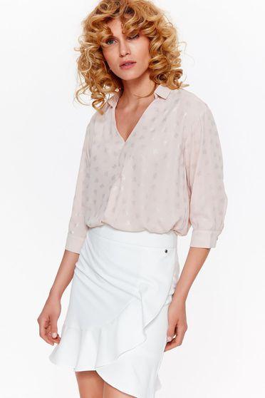 Bluza dama Top Secret rosa eleganta cu croi larg din bumbac neelastic cu decolteu in v