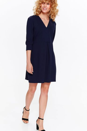 Rochie Top Secret albastra-inchis eleganta cu croi in A din material usor elastic cu decolteu in v