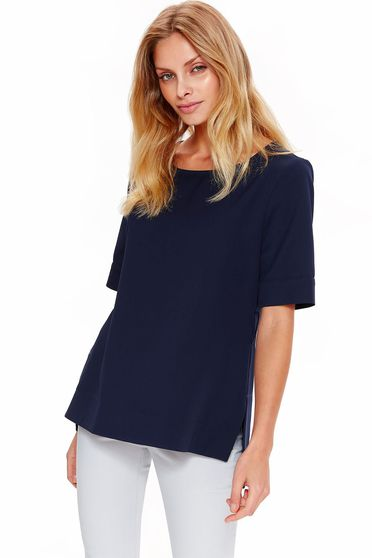 Bluza dama Top Secret albastra-inchis eleganta cu croi larg din material usor elastic accesorizata cu cordon