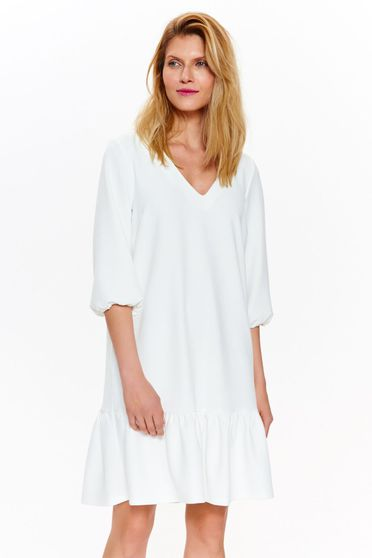 Top Secret rochie alba de zi cu croi larg din material usor elastic cu maneci clopot