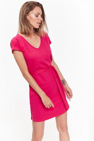 Rochie Top Secret roz de zi cu croi larg din bumbac accesorizata cu cordon