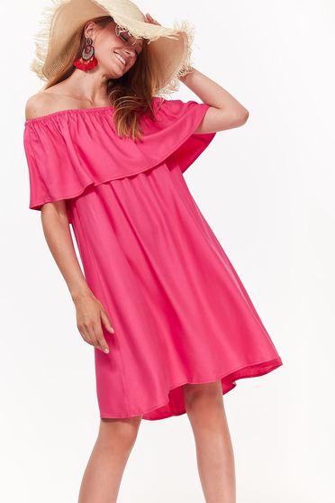 Rochie Top Secret roz casual cu croi larg din material vaporos pe umeri
