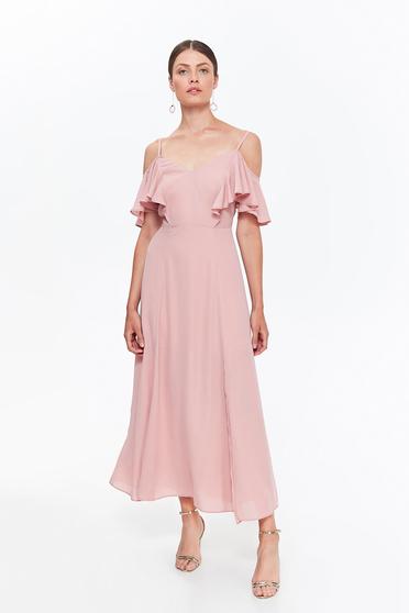 Rochie Top Secret rosa eleganta cu bretele din material vaporos cu volanase