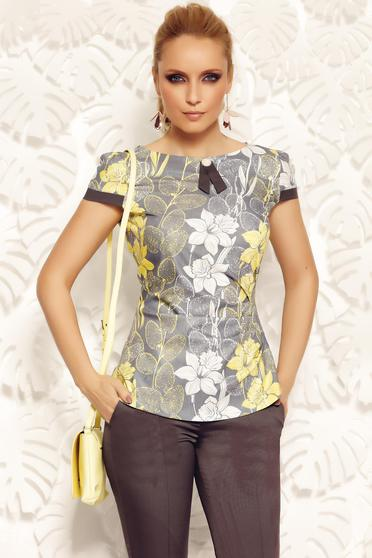 Bluza dama Fofy gri office cu un croi mulat din material fin la atingere