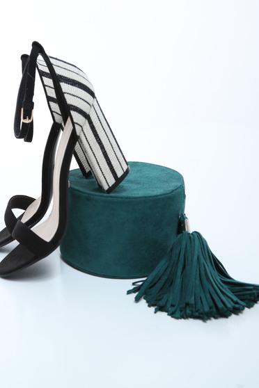 Sandale Top Secret negre elegante cu toc inalt gros si barete subtiri