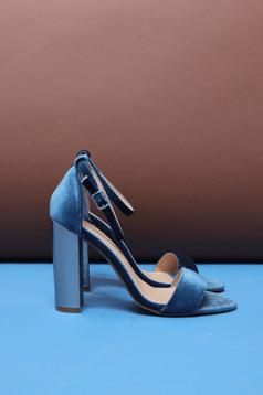Sandale Top Secret albastre elegante cu toc inalt gros si barete subtiri