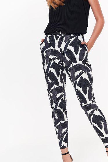 Pantaloni Top Secret negri casual conici din bumbac cu talie medie si buzunare