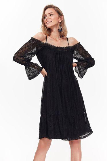 Rochie Top Secret neagra eleganta cu croi larg din dantela captusita pe interior