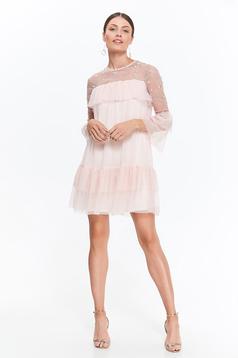 Rochie Top Secret rosa eleganta cu croi larg din tul captusita pe interior cu insertii de broderie