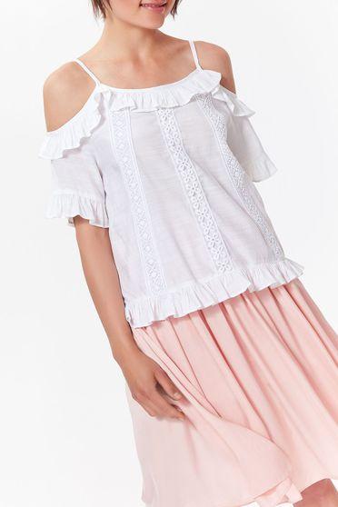 Bluza dama Top Secret alba casual cu croi larg din material neelastic cu volanase